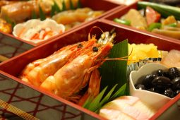 The assortment of cold dishes named osechi Japanese people consume on the first day of the year.