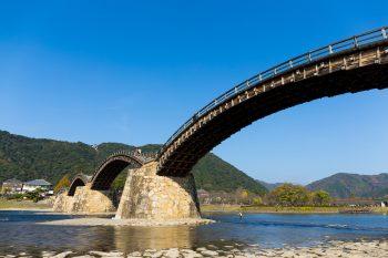 Photo of Kintaikyo bridge,the main landmark of Iwanuki, Yamaguchi